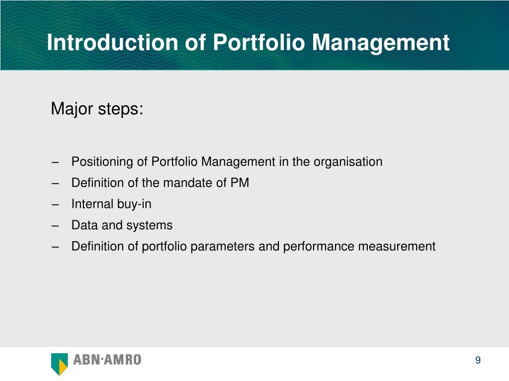 Introduction of Portfolio Management