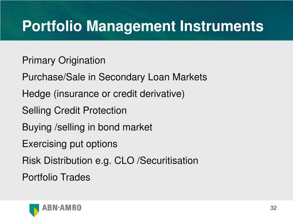 Portfolio Management Instruments