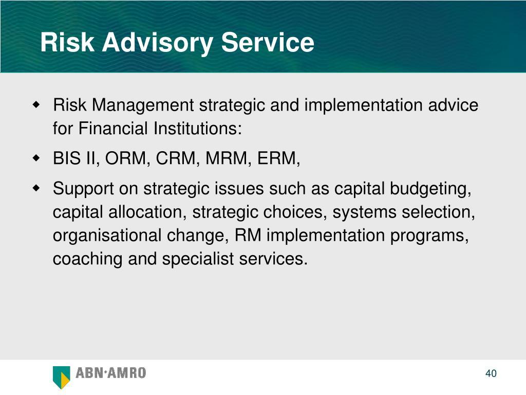 Risk Advisory Service
