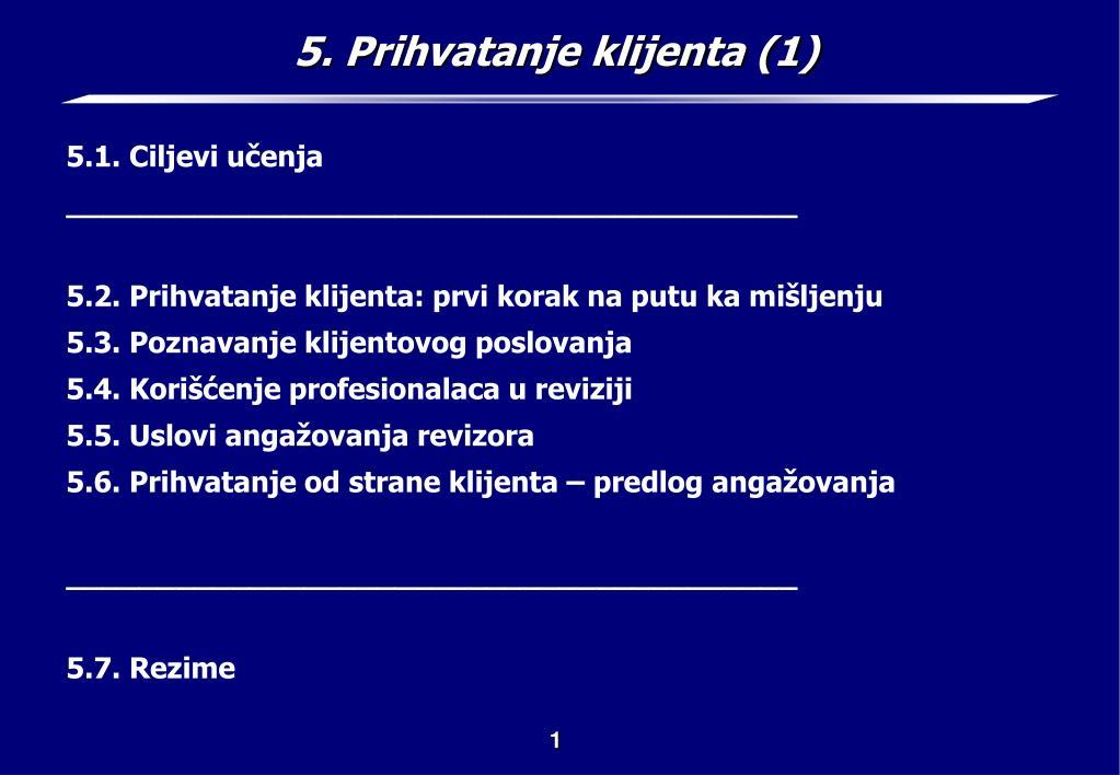 5. Prihvatanje klijenta (1)