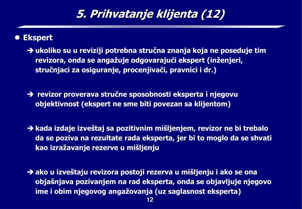 5. Prihvatanje klijenta (12)