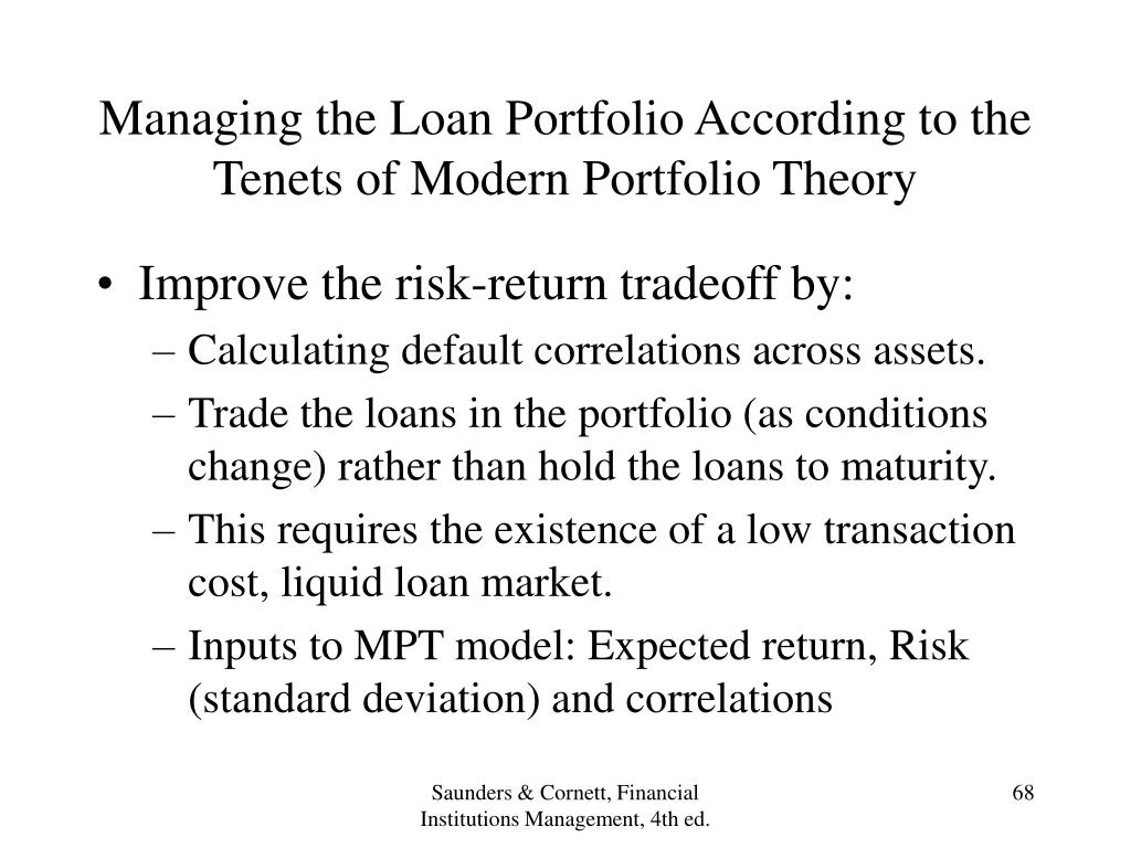 Managing the Loan Portfolio According to the Tenets of Modern Portfolio Theory