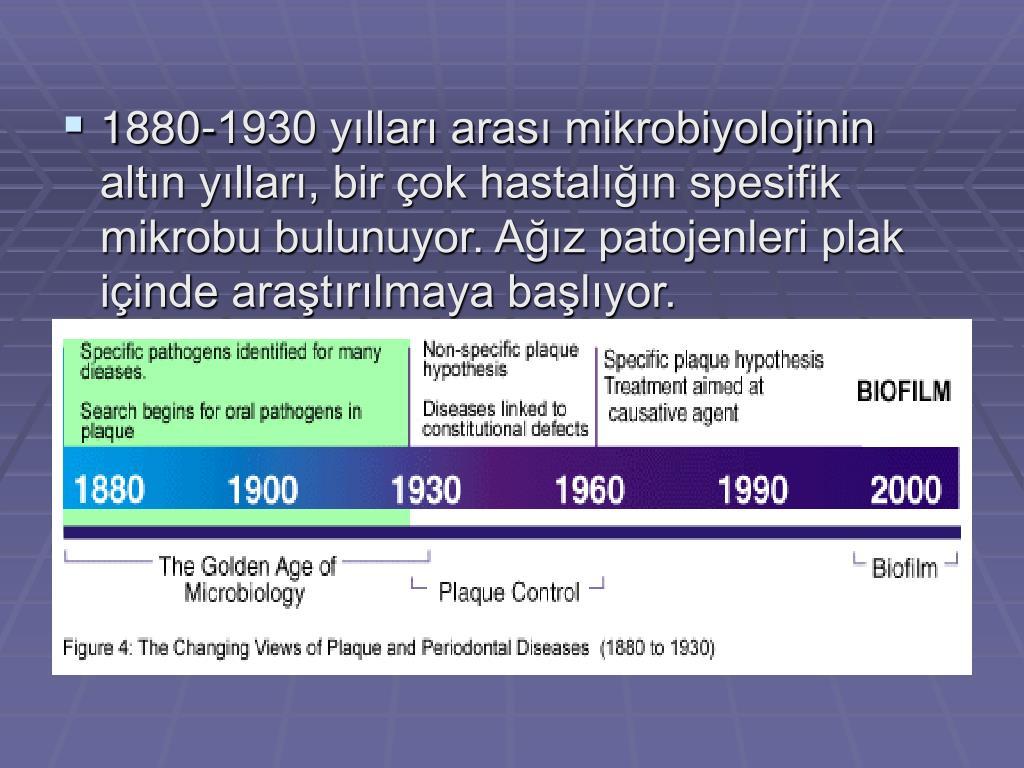 1880-1930 yılları arası mikrobiyolojinin altın yılları, bir çok hastalığın spesifik mikrobu bulunuyor. Ağız patojenleri plak içinde araştırılmaya başlıyor.