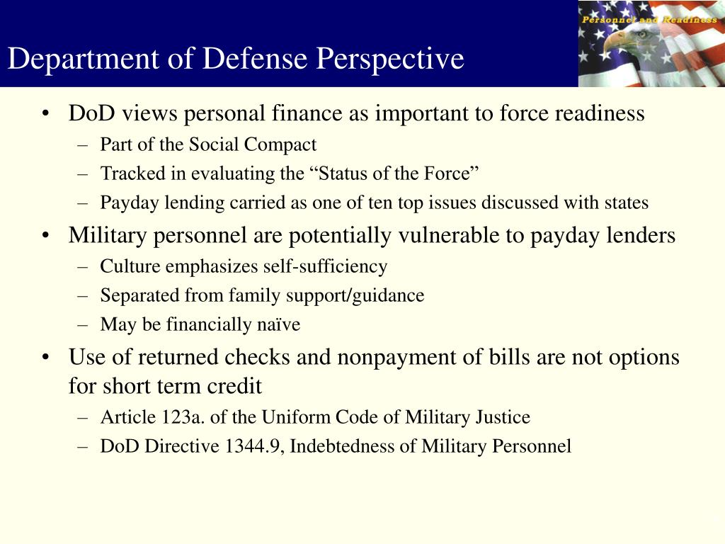 DoD views personal finance as important to force readiness