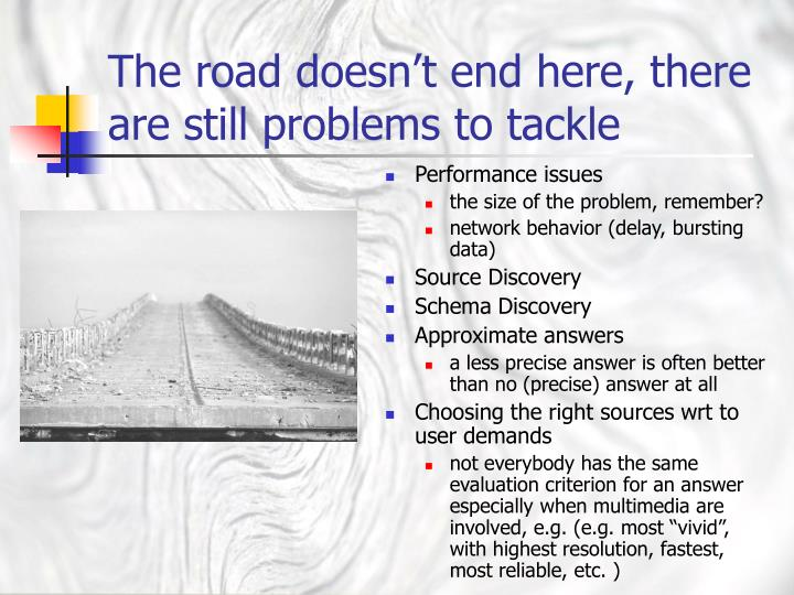 The road doesn't end here, there are still problems to tackle