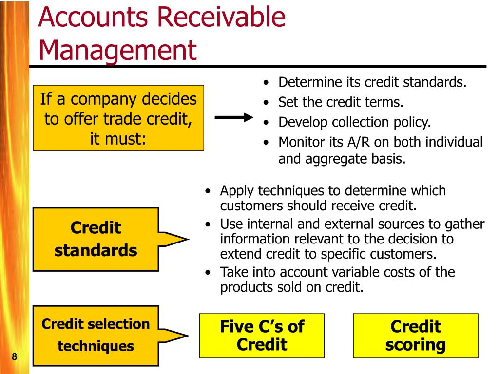 Determine its credit standards.