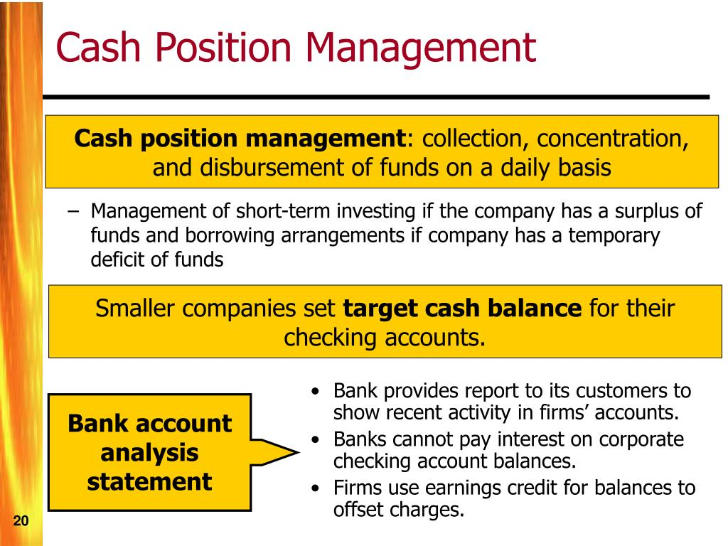 Bank provides report to its customers to show recent activity in firms' accounts.