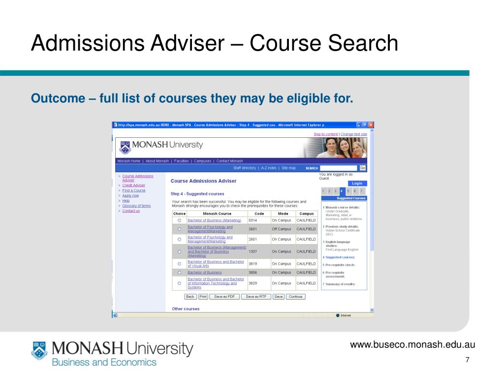 Admissions Adviser – Course Search