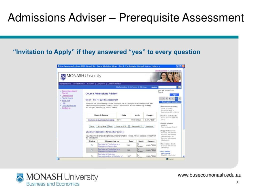 Admissions Adviser – Prerequisite Assessment