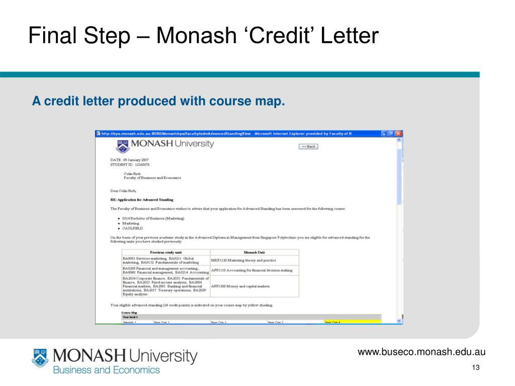 Final Step – Monash 'Credit' Letter