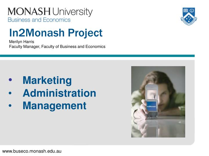 In2monash project merilyn harris faculty manager faculty of business and economics