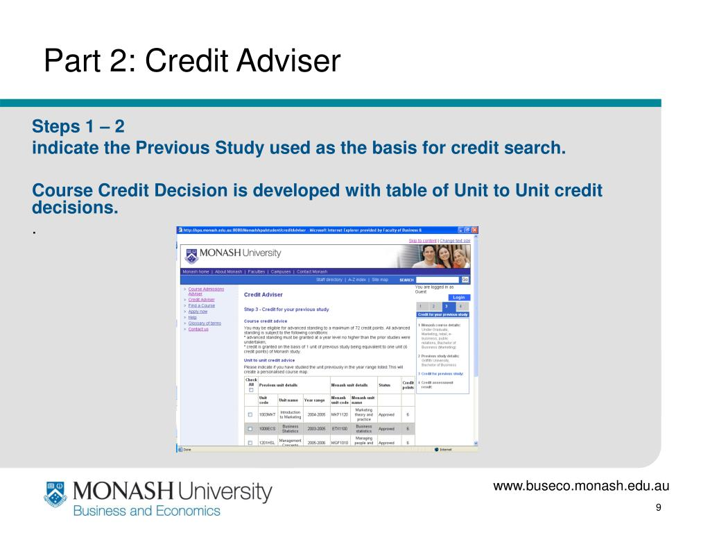Part 2: Credit Adviser