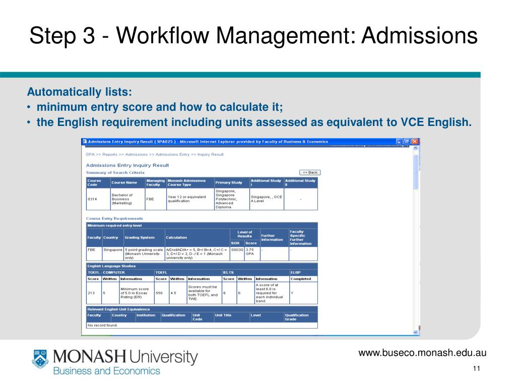 Step 3 - Workflow Management: Admissions