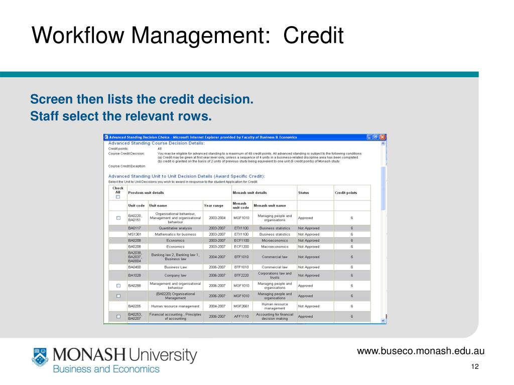 Workflow Management:  Credit