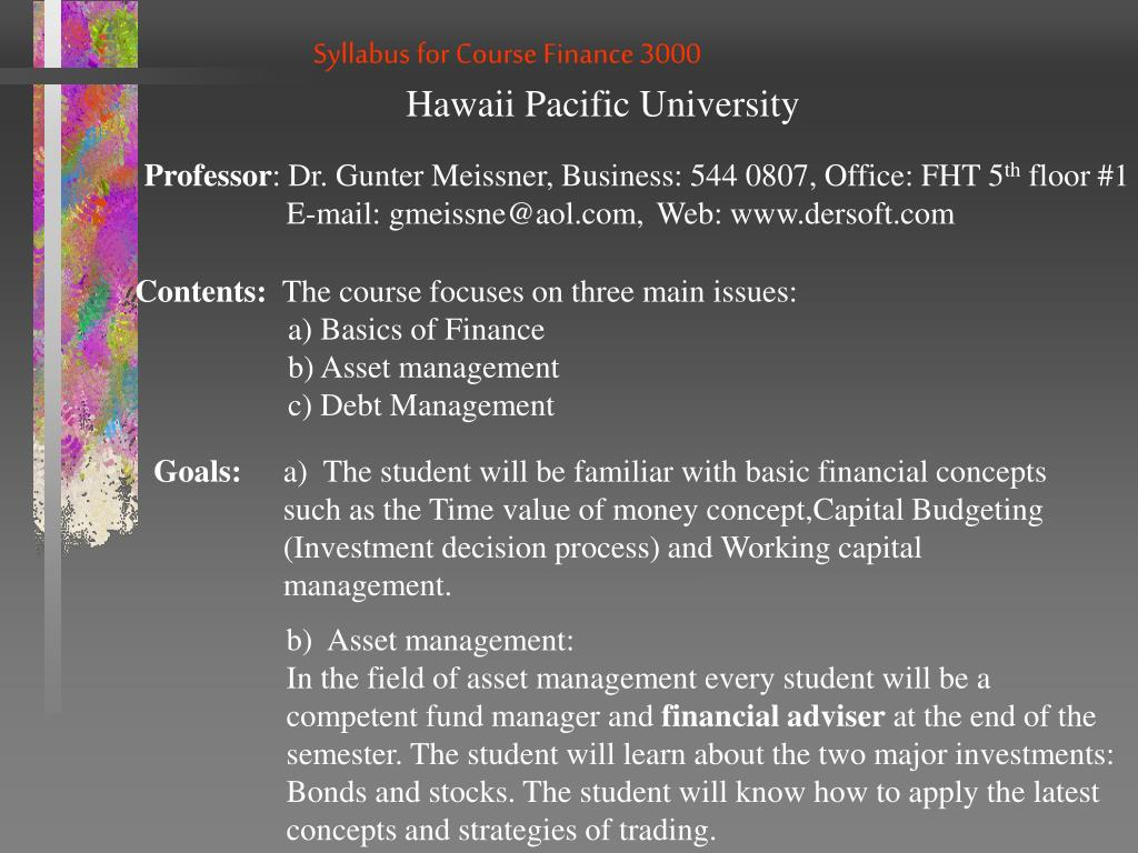 Syllabus for Course Finance 3000