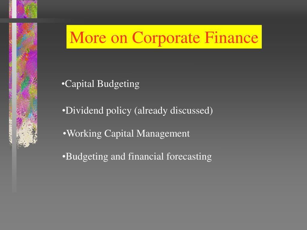 More on Corporate Finance