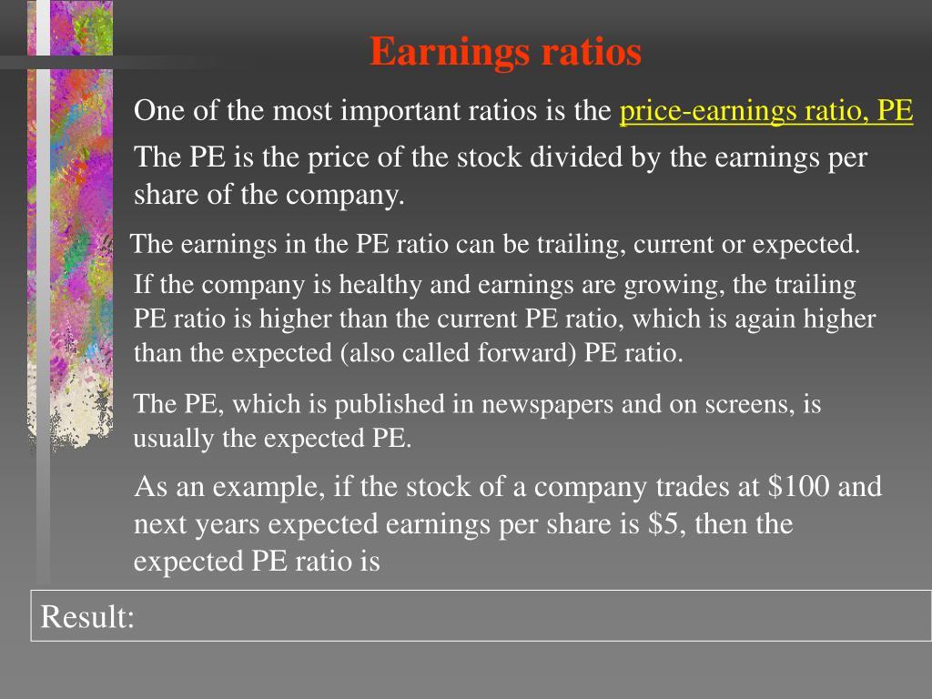Earnings ratios