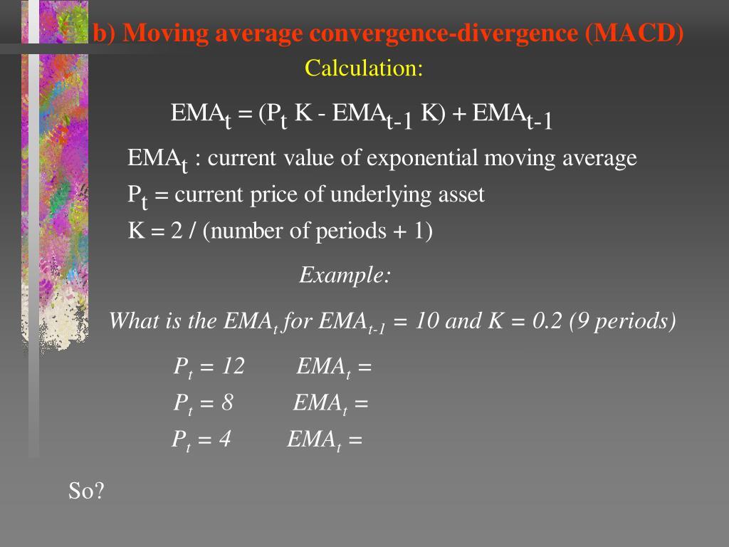 b) Moving average convergence-divergence (MACD)