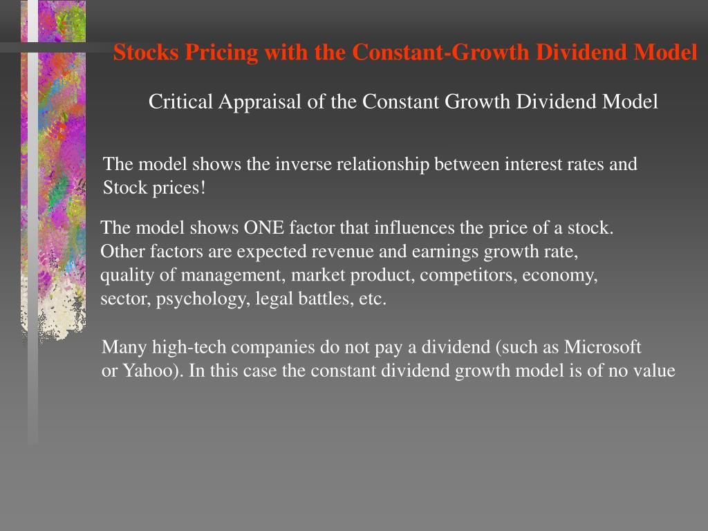 Stocks Pricing with the Constant-Growth Dividend Model