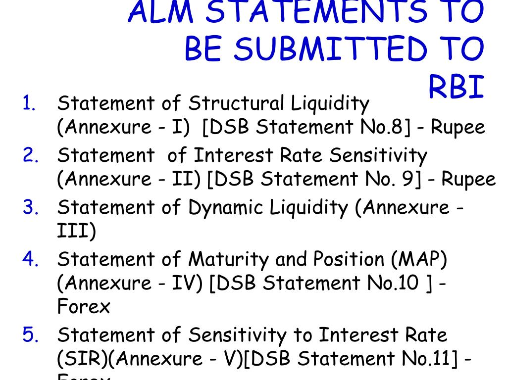 ALM STATEMENTS TO BE SUBMITTED TO RBI