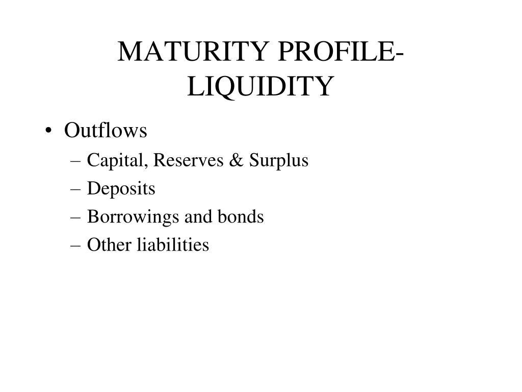 MATURITY PROFILE-LIQUIDITY