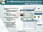 an erm dashboard should provide full risk transparency