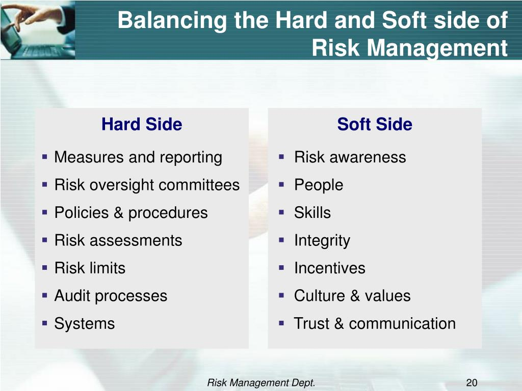 Balancing the Hard and Soft side of Risk Management