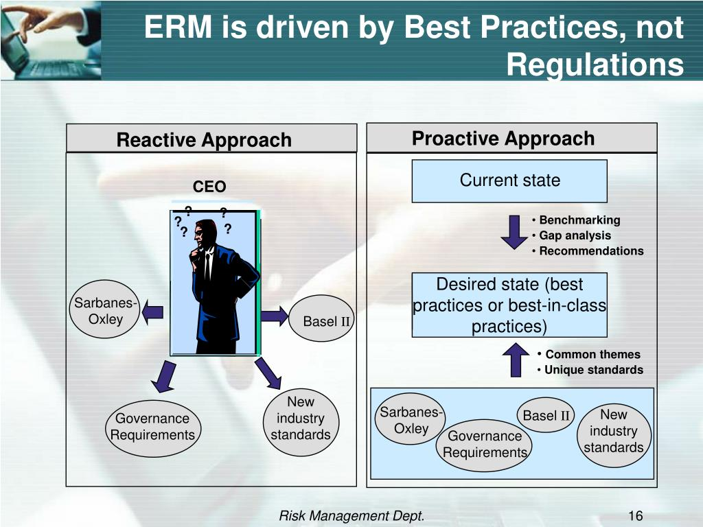 ERM is driven by Best Practices, not Regulations