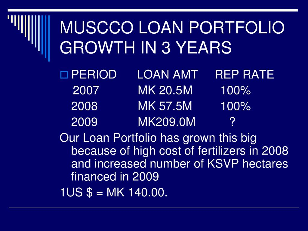 MUSCCO LOAN PORTFOLIO GROWTH IN 3 YEARS