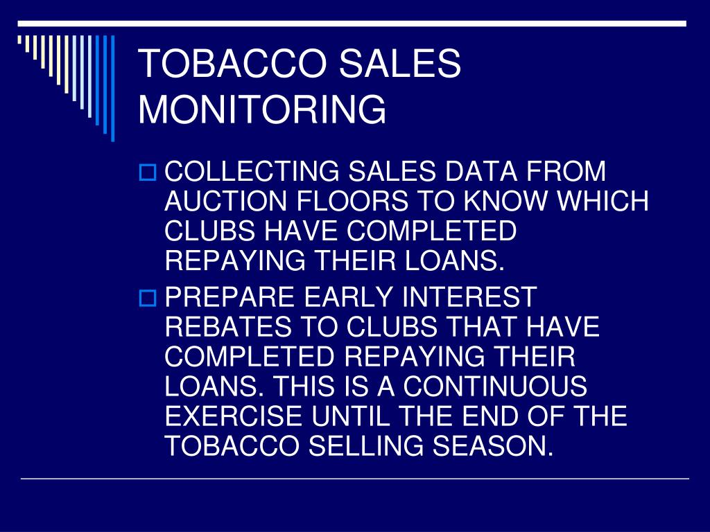 TOBACCO SALES MONITORING