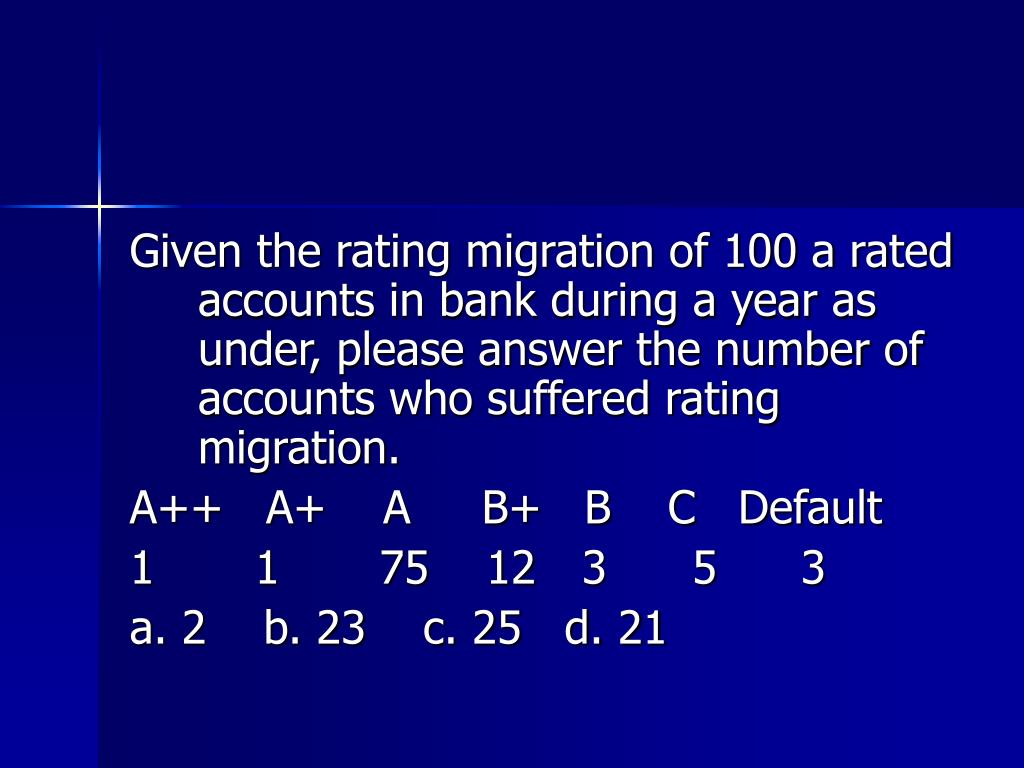 Given the rating migration of 100 a rated accounts in bank during a year as under, please answer the number of accounts who suffered rating migration.