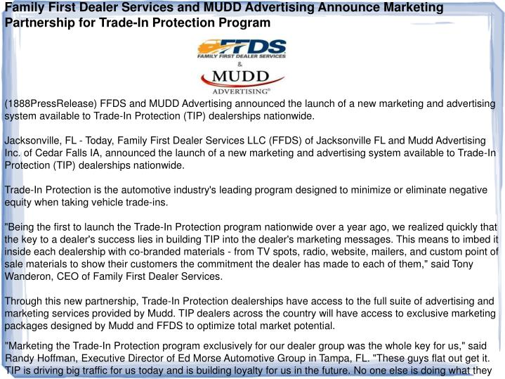 Family First Dealer Services and MUDD Advertising Announce Marketing Partnership for Trade-In Protec...