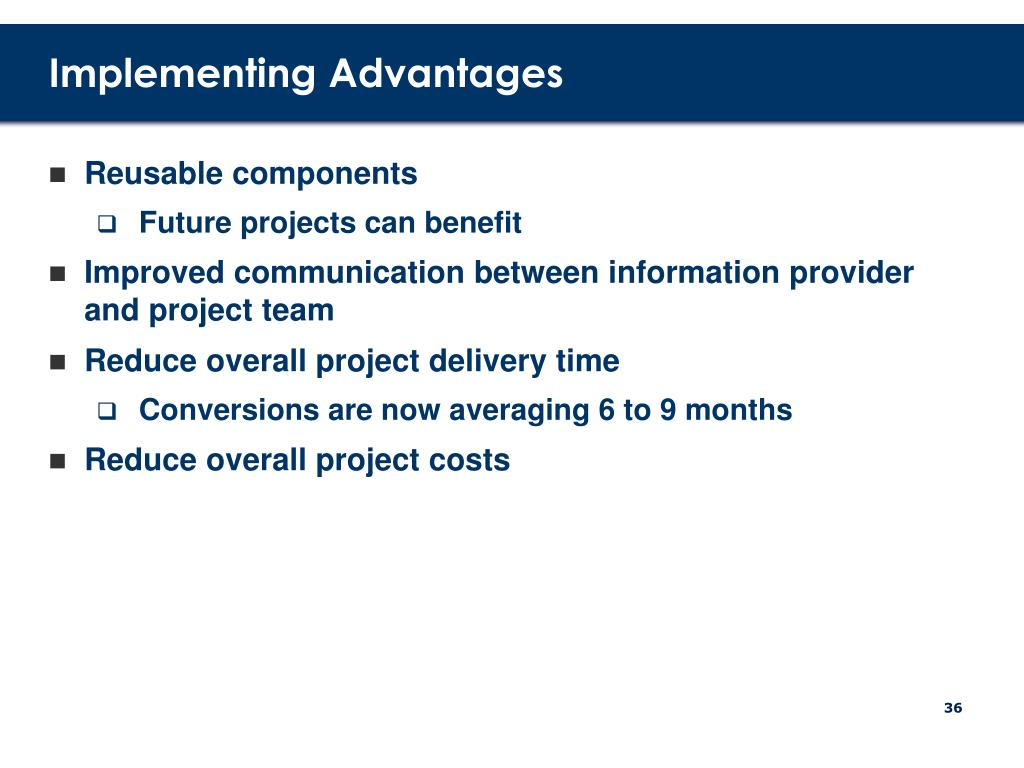 Implementing Advantages