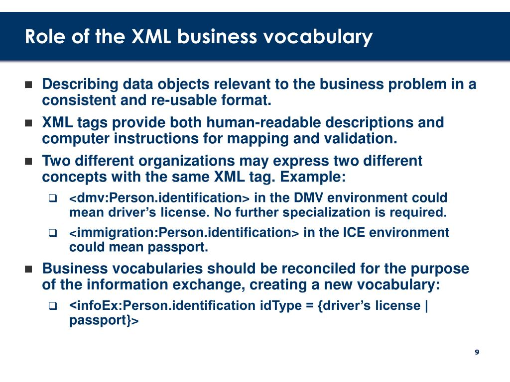 Role of the XML business vocabulary