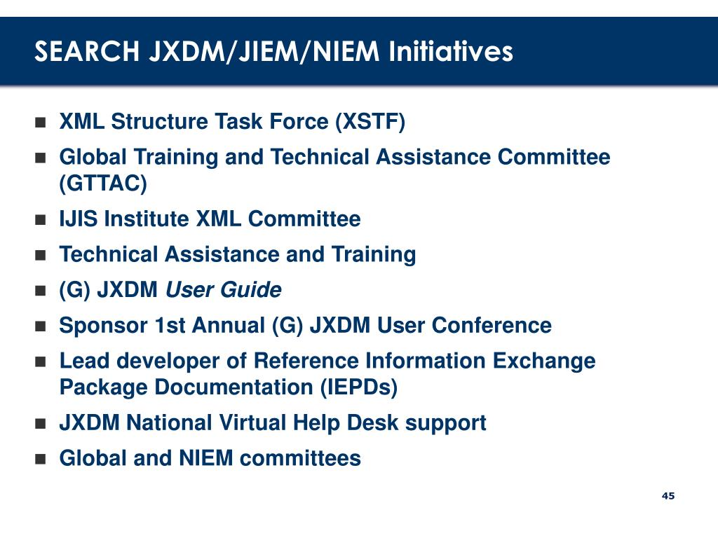 SEARCH JXDM/JIEM/NIEM Initiatives