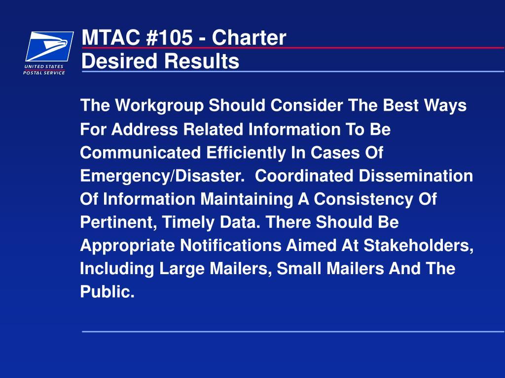 MTAC #105 - Charter