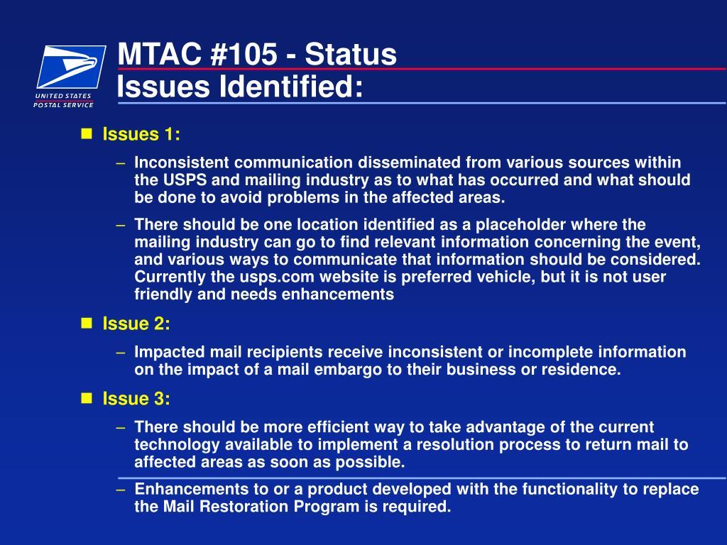 MTAC #105 - Status