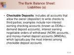 the bank balance sheet liabilities a