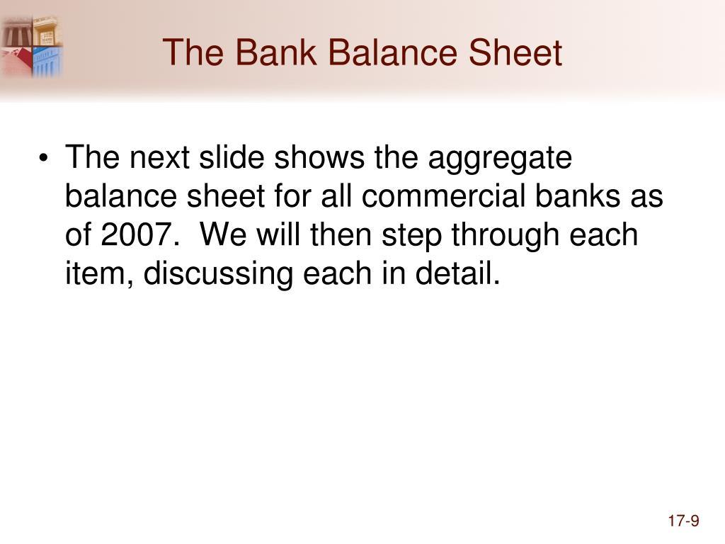 The Bank Balance Sheet