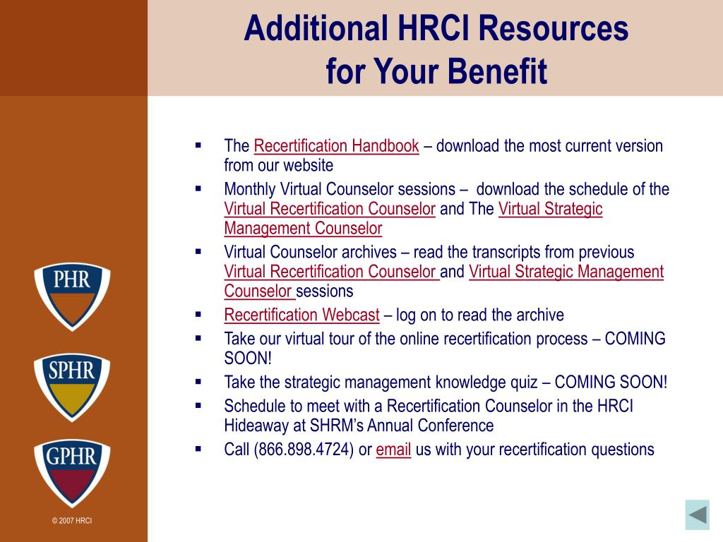 Additional HRCI Resources