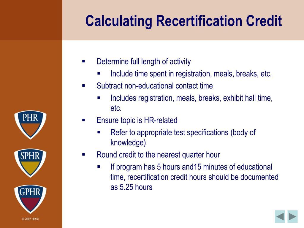 Calculating Recertification Credit
