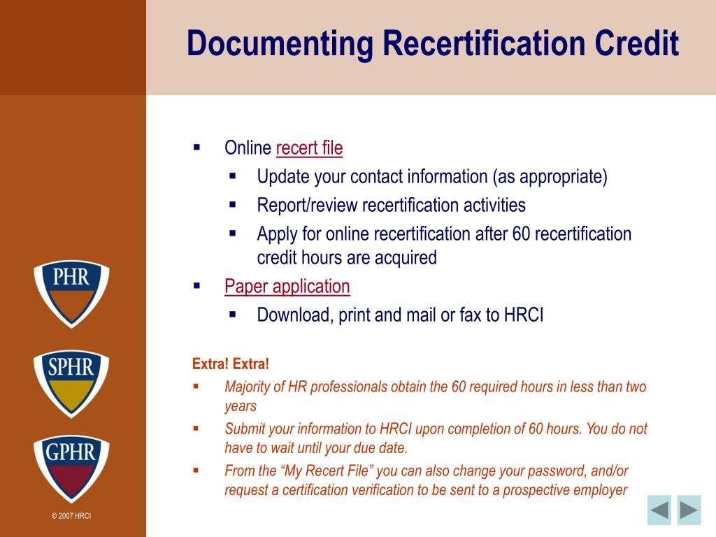 Documenting Recertification Credit
