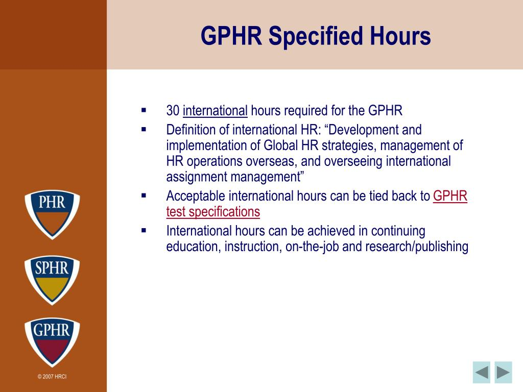 GPHR Specified Hours