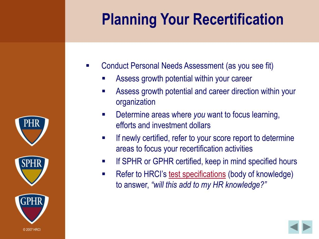 Planning Your Recertification