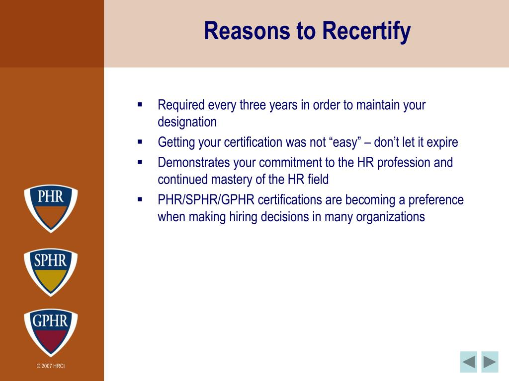 Reasons to Recertify