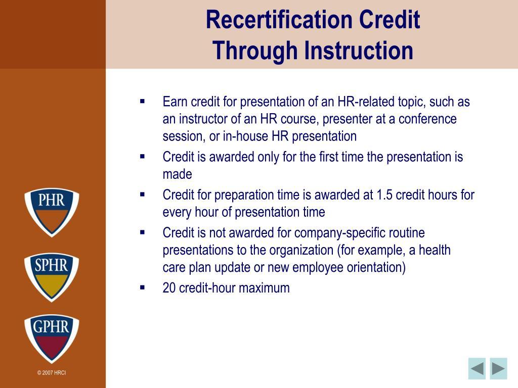 Recertification Credit