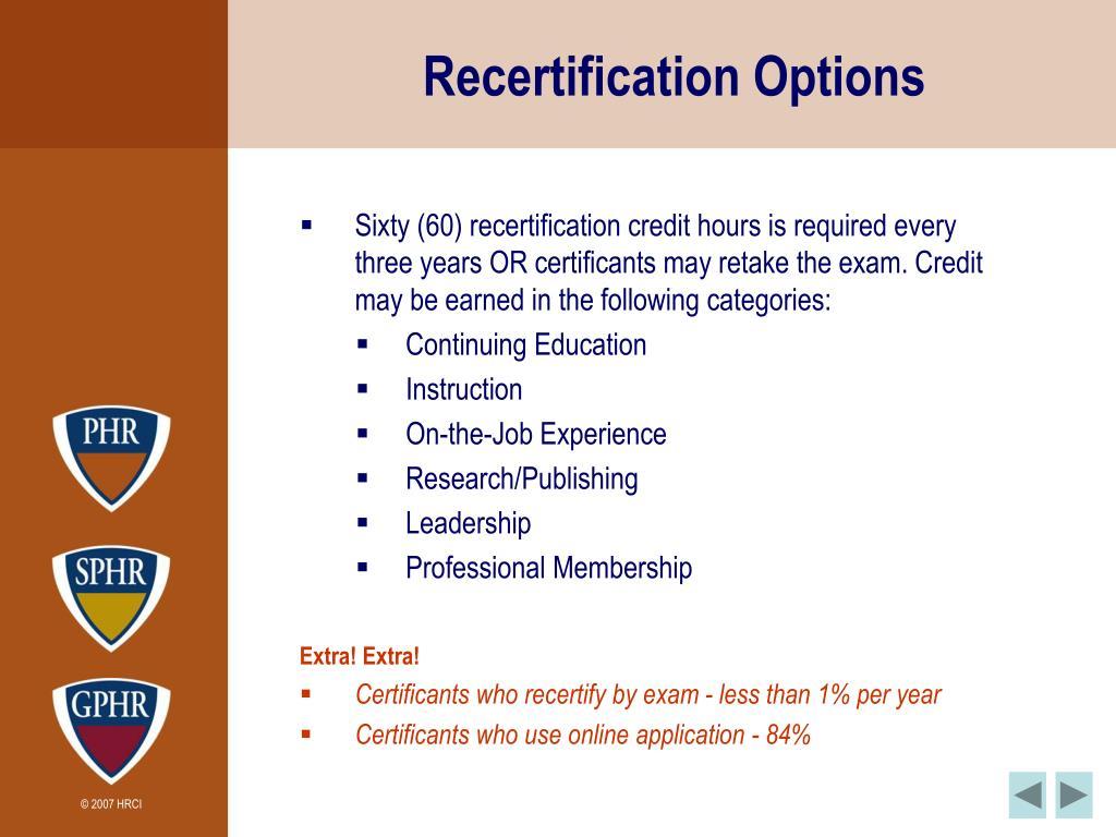 Recertification Options