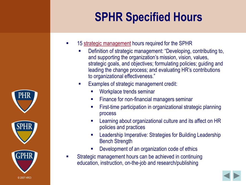 SPHR Specified Hours