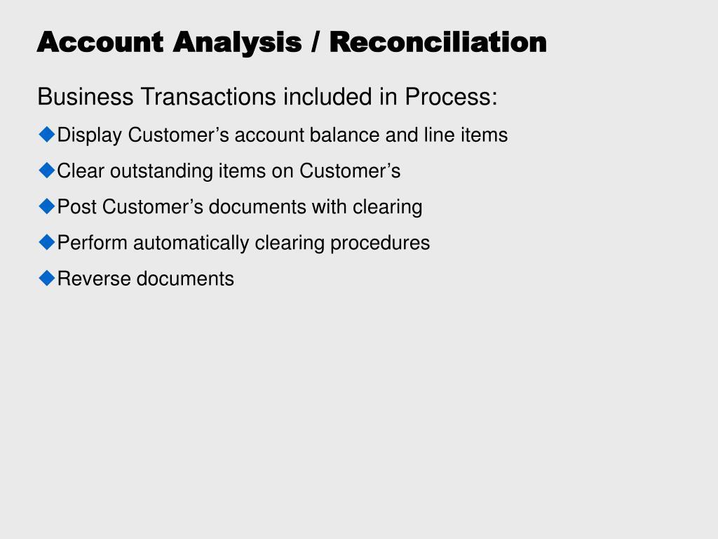 Account Analysis / Reconciliation