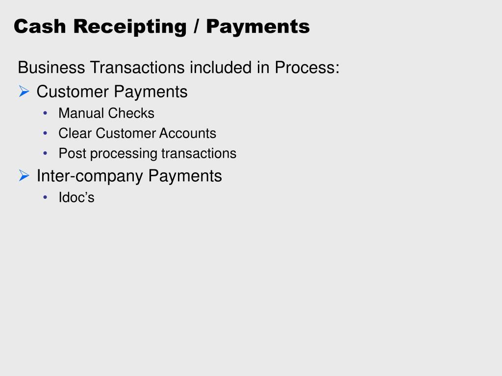 Cash Receipting / Payments